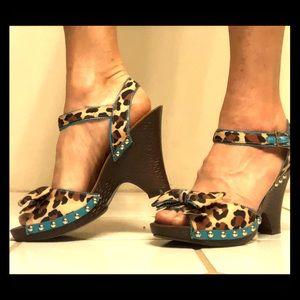 Kensie Leopard Print Studded Heel